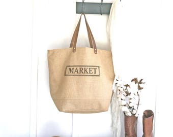 Market Tote Bag   Waterproof Tote Bag With Zipper   Oversized Jute Bag   Birthday Gift for Women   Large Burlap Tote   Unique Gift for her