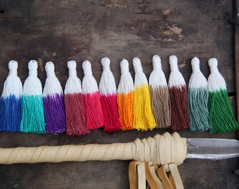 """Dip Dye Tassels, Tie Dyed Ombré Handmade Cotton Jewelry Tassels,  Boho Fashion Trend, 3.5"""", 3+ Pieces,  You Choose From 12 Colors"""