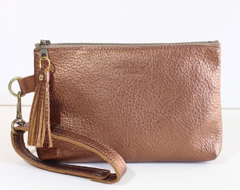 Leather Zipper Pouch / Clutch bag / Purse Clutch / Makeup Pouch with Strap Handle and Tassel Charm - Metallic Brown