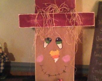Reversible handmade wooden Scarecrow/snowman