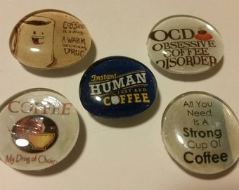Set of 5 Strong magnets, Glass magnets, coffee magnets, coffee lover, caffeine, drug, adult magnets, refrigerator magnets, kitchen decor