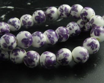 painted white porcelain 10mm 10 beads