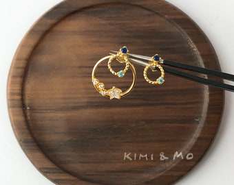 Mismatched Earring // Star Earring Gold // Free Combination // Star and Orbit Earring // Diamond Earring // Gift for Her