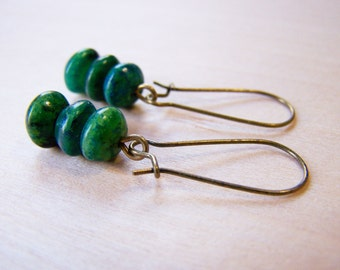 Bronze Green Stone Rondelle Trio Drop Dangle Earrings / Gift for Her