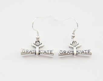 Grad Gifts, Diploma Earrings, Diploma Jewelry, Grad Earrings, Graduation Earrings, Graduation Jewelry, Gift for Grads, Grad Gifts