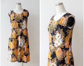 1970s Floral Dress M L, Sleeveless Summer Dress Daisies Sundress Casual Dress
