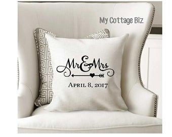 """Mr. & Mrs. Pillow Cover, Linen color, 18"""" x 18"""""""