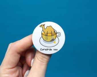 camelmile tea badge, camel badge, tea badge, puns, camel pin, animal pins, animal badges, kawaii badge, funny badge, cute badge, tea pin