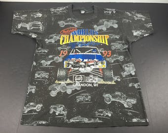 Vintage 1993 off road world championships monster trucks all over print t-shirt mens xl