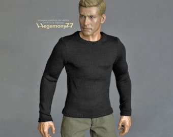 1/6 scale black long sleeved T-shirt for: action figures and male fashion dolls