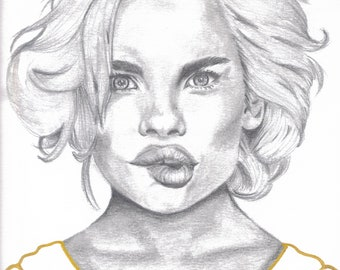 Personalized pencil portraits and digitized in gold detail.