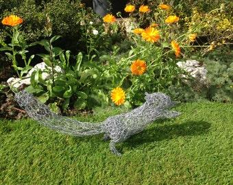 Squirrel wire sculpture. Metal garden sculpture. Garden. Garden decor. Garden ornament. Garden Wire sculpture. Outdoor. Handmade. Unique