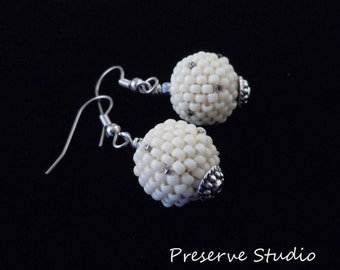 White Earrings, Beaded Earrings, Silver Earrings, Beaded Bead, Spheres, Casual Earrings