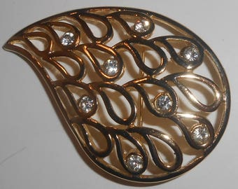 Vintage Gold Tone Open Work Clear Rhinestone Tear Drop Shape Abstract Brooch