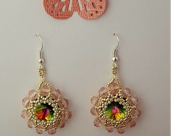 SWAROVSKY CRYSTAL beaded earrings HANDMADE