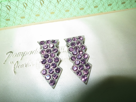 2 x Lovely antique silvertone lilac glass dress clips