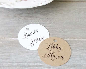 Personalised Name Tags - Wedding Place Cards - Name Labels - Round Tags - Engagement Party Favour - Customised Tag