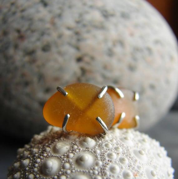 Tiny Ocean sea glass stud earrings in amber