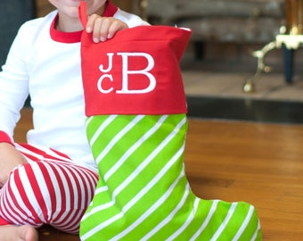 Striped Christmas Stocking, holiday stocking, personalized stocking, embroidered stocking, monogram christmas stockings, mix and match