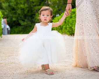 Ivory Flower Girl Dress, Tulle Tutu Princess Baby Lace White Dress, Toddler Flower Girls Dress, Wedding Dress Baby Tulle Tutu, Flower Girl