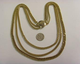 1950s vintage mid century gold tone metal triplet chains necklace choker jewelry e1461