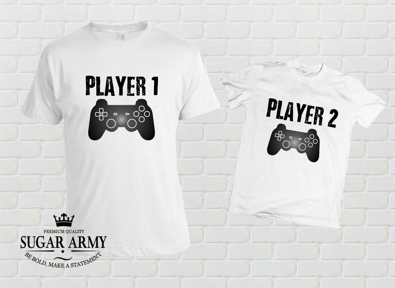 Father and son matching shirts, father and son matching T-shirts, Player 1 Player 2, Joypad, Controller, UNISEX
