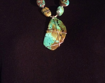 New Mexico Vintage or Nugget Tibetan Turquoise Necklace. Sterling Silver.  free US ship