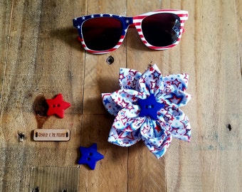 Red, White, Blue Stars | Dog Collar Flower