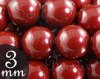 3mm Bordeaux pearls Style 5810 by Swarovski Elements (50)