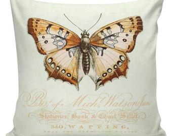Antique Easter Document Burlap Cotton Spring Butterfly Throw Pillow Cover SP-88 Elliott Heath Designs