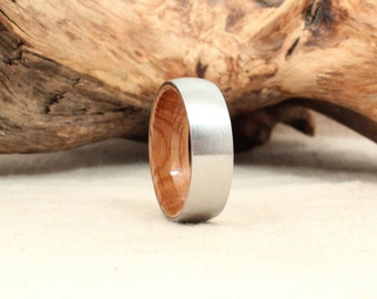 Cobalt Wooden Ring Lined with Bourbon Barrel White Oak Wood Ring