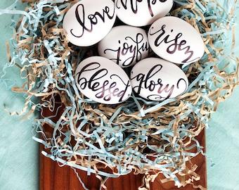 HAND LETTERED Farmhouse Eggs - Lettered Eggs - Custom Easter Eggs - Personalized Eggs - Faith Eggs - Hand Lettering -Black & White Decor