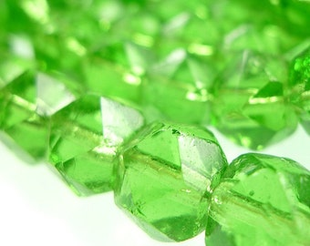 Rough cut, glass beads RARE large size green