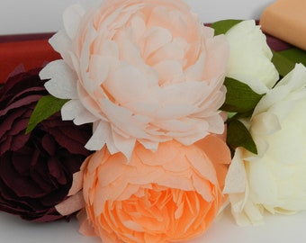 Crepe Paper Graceful Peony Bouquet - Crepe Paper Flowers