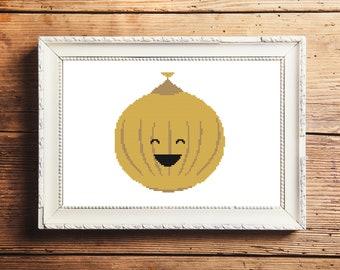 Happy Onion Cross Stitch Pattern (Digital Download)