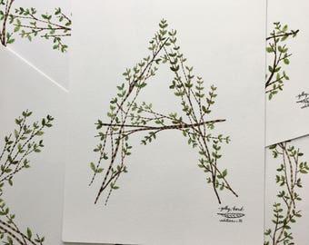 Twig Type Print, alphabet typographic print, personalized, giclee art print, monogram, initials, nature lettering