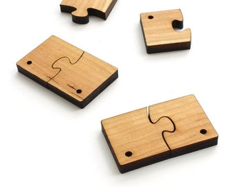 """Wood Puzzle Piece Beads or Charms - Six Pieces 1"""" Laser Cut from Sustainable Harvest Wisconsin Wood - from Timber Green Woods"""