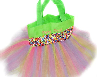 Tutu Bag, Jelly Bean Ribbon with Free Monogram, Personalized Girl Dance Bag, Easter Basket, Party Favors Whimsical