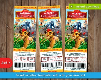 Lion Guard Invitation - Printable ticket birthday party invite - INSTANT PDF DOWNLOAD