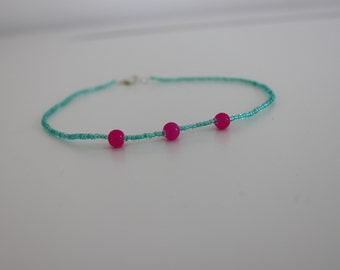 teal and pink beaded choker