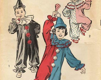1950s Advance 707 UNCUT Vintage Sewing Pattern Boys and Girls Clown Costume Size Medium