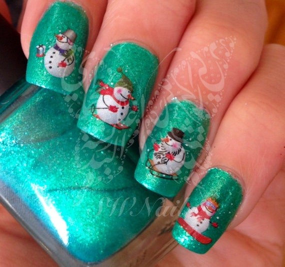 Christmas Snowman Nail Art Water Decals Nail Transfers Wraps