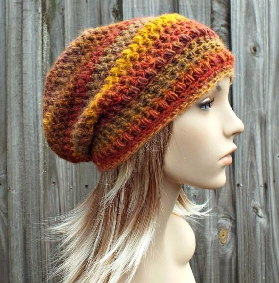 Crochet Hat Womens Hat - Penelope Puff Stitch Slouchy Beanie Hat - Yellow Gold Orange Rust Mesa - Winter Hat