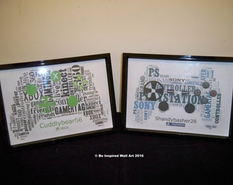 Personalised Typography Xbox or Playstation Controller Picture - With Gamertag or Name