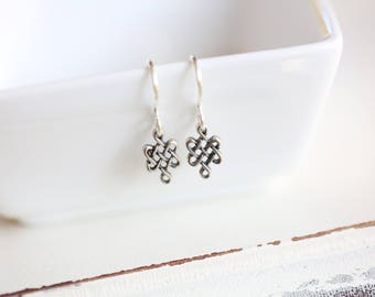 Tiny Celtic Knot Earrings / Minimalist sterling silver earrings / Wedding Gift gift for wife girlfriend sister Dainty everyday modern