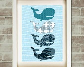 Blue whale -  Kids Art Prints, water animal, blue pattern, nursery decorating ideas, nursery whale, blue  whales