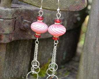 Peppermint Stripe Earrings handmade red and white striped earrings blown glass beads with silver chain and glass bead accents
