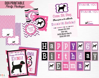 Pink Purple Black Lab Dog Birthday Party Package YOU PRINT