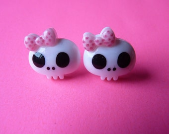 Cute Kawaii White Skull Pink Bow Earrings - With Back Stoppers