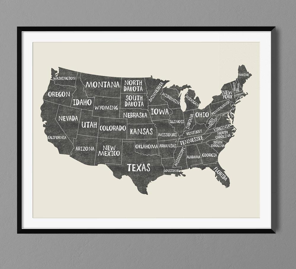 USA States Map Names Art Print Poster Black Chalk Gift Idea